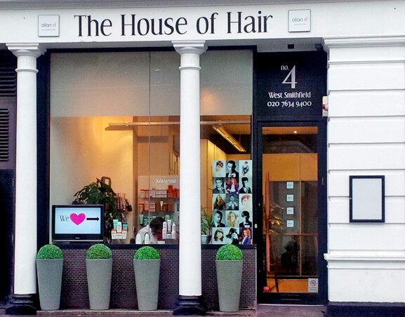 Exterior of Alan d's House of Hair Salon in West Smithfield, London.