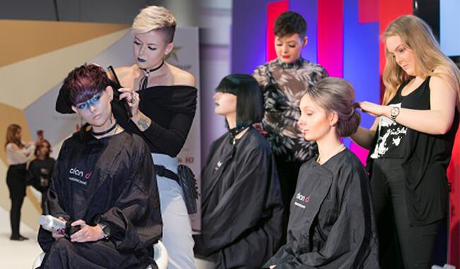 Alan d students cutting womens hair.