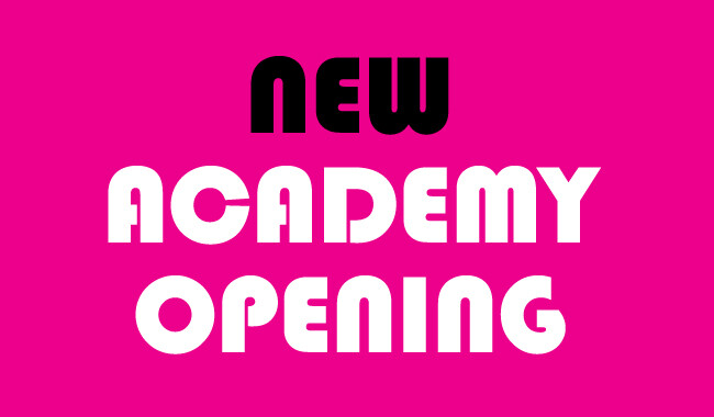 New academy opening sign.