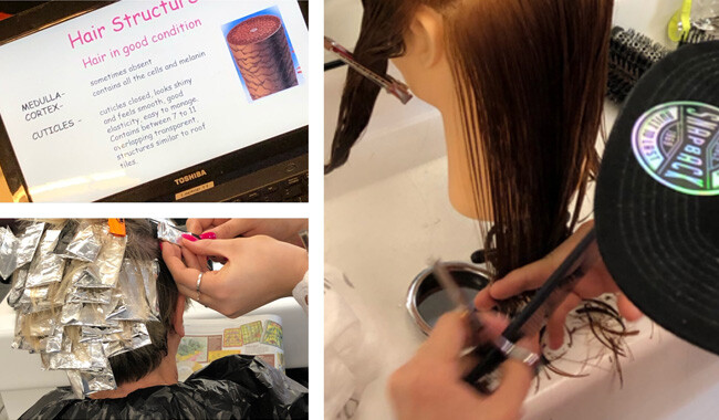 Collage of cutting hair, highlighting hair and a hairdresing learning online.
