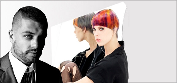 Male hair model with short dark hair next to a woman with short multi-coloured hair.