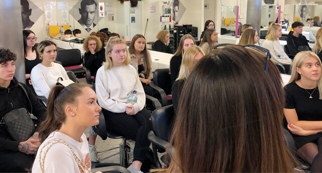 Students in a lesson at the Alan d Hairdressing Academy